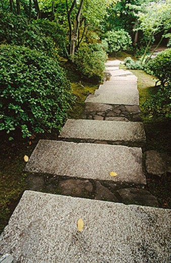 Stock Photo: 1566-251765 Stone steps. Japanese Gardens. Portland. Oregon. USA.