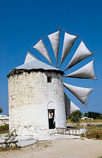 Windmill. Antimahia village. Kos Island. Dodecanese. Greece. : Stock Photo