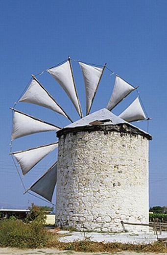 Stock Photo: 1566-252057 Windmill. Antimahia village. Kos Island. Dodecanese. Greece.