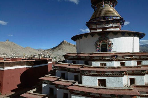 Pelkor Chodi monastery and Dzong fortress, Gyantse. Tibet : Stock Photo