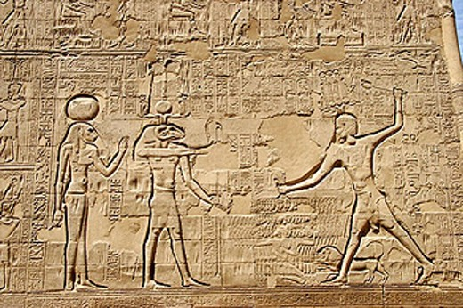 Reliefs of temple dedicated to Khnum in Esna. Egypt : Stock Photo