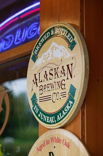 Stock Photo: 1566-252810 Sign for Alaskan Brewing Co. Beer. Local Brew. Juneau. Southeast Alaska. USA.