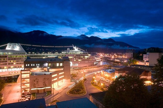 Cruiseship. Juneau Waterfront. Evening. Juneau. Southeast Alaska. USA. : Stock Photo