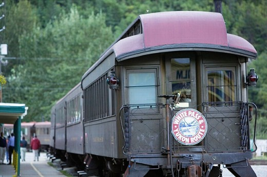 Stock Photo: 1566-252847 White Pass & Yukon Route Scenic Railroad. Passenger Cars. Skagway. Southeast Alaska. USA.