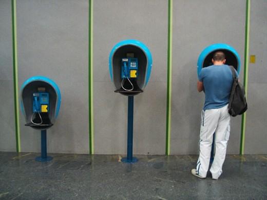 Public phones in airport. Rio de Janeiro, Brazil : Stock Photo