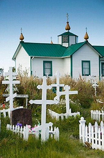 Russian Orthodox Crosses. Old Russian Church (b.1901). Ninilchik. Kenai Peninsula. Alaska. USA. : Stock Photo