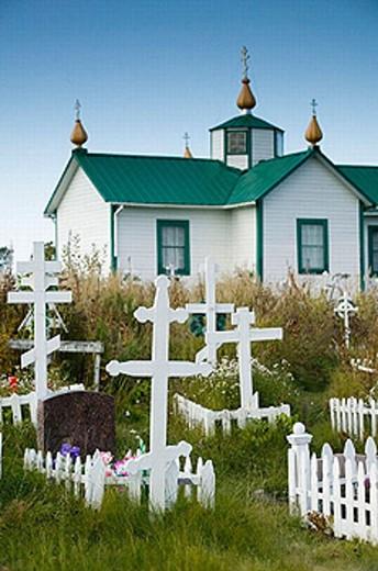 Stock Photo: 1566-253176 Russian Orthodox Crosses. Old Russian Church (b.1901). Ninilchik. Kenai Peninsula. Alaska. USA.