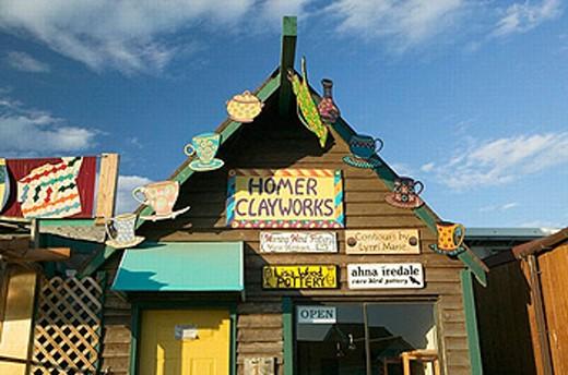 Stock Photo: 1566-253695 Homer Spit. Homer Clayworks. Homer. Kenai Peninsula. Alaska. USA.