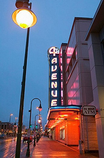 Stock Photo: 1566-253725 Neon Sign of the 4th Avenue Theater. Evening. Landmark of Downtown Anchorage. Anchorage. Alaska. USA.