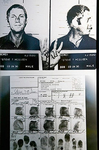 Alaska State Trooper Museum. Arrest Record of Actor Steve McQueen arrested in Alaska 1972. Anchorage. Alaska. USA. : Stock Photo