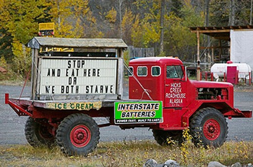 Stock Photo: 1566-253730 Hicks Creek Roadhouse. Cafe Sign along Glenn Highway: ´Stop and Eat Here or We Both Starve´. Hicks Creek. Interior. Alaska. USA.