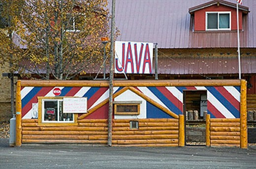 Hicks Creek Roadhouse. Java Sign along Glenn Highway. Hicks Creek. Interior. Alaska. USA. : Stock Photo