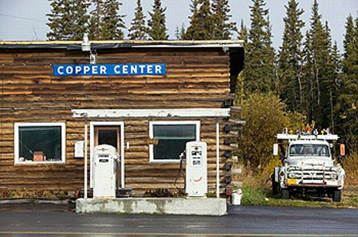 Stock Photo: 1566-253736 Old Gas Station & Towtruck. Early 20th century staging camp for Yukon Gold Prospectors. Interior. Copper Center. Alaska. USA.