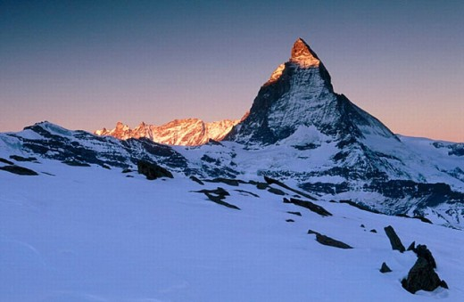 Matterhorn (4478 m.), Alps in the morning from Gornergrat in winter. Valais, Switzerland : Stock Photo