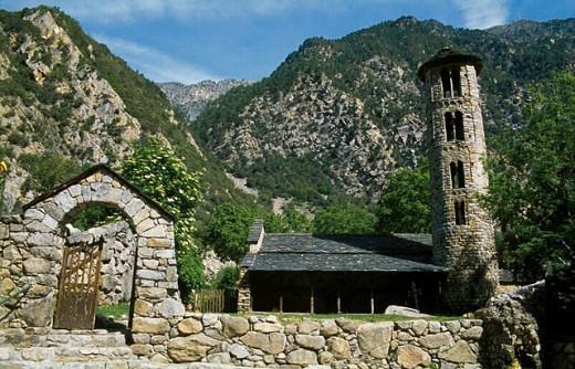 Round belltower. Santa Coloma parish church. Santa Coloma. Andorra : Stock Photo