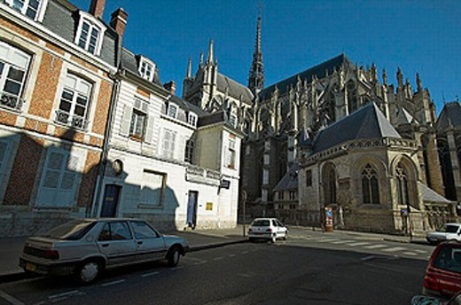 Behind the Cathedral of Amiens. Amiens. France : Stock Photo