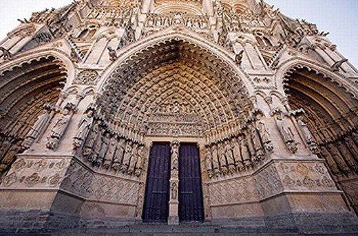 Ornate doorway of Cathedral of Amiens. Amiens. France : Stock Photo
