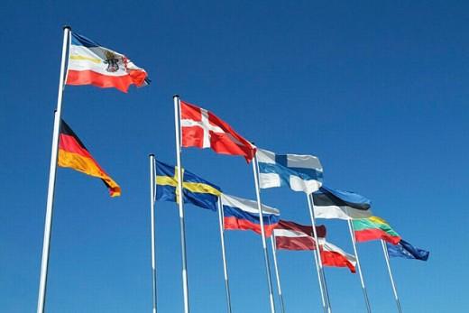 Flags, Warnemünde, Mecklenburg Western Pomerania, Germany : Stock Photo
