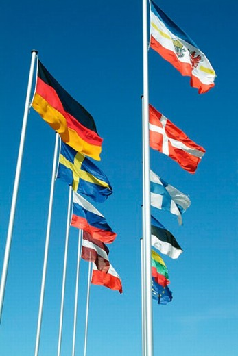 Flags, Warnemünde, Mecklenburg Western Pomerania, Germany : Stock Photo