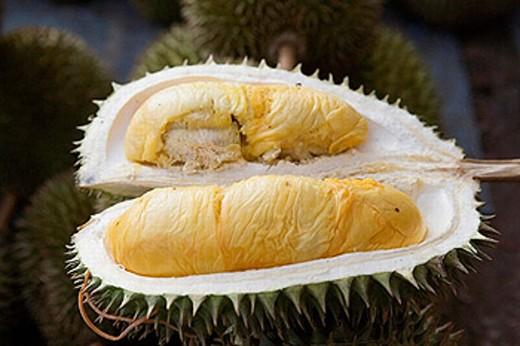 Stock Photo: 1566-255325 Durian fruit in the Pasar Payang (Central Market), Kuala Terengganu. Malaysia