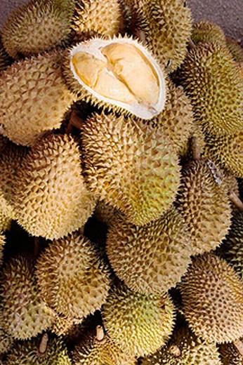 Durian fruits in the Pasar Payang (Central Market), Kuala Terengganu. Malaysia : Stock Photo