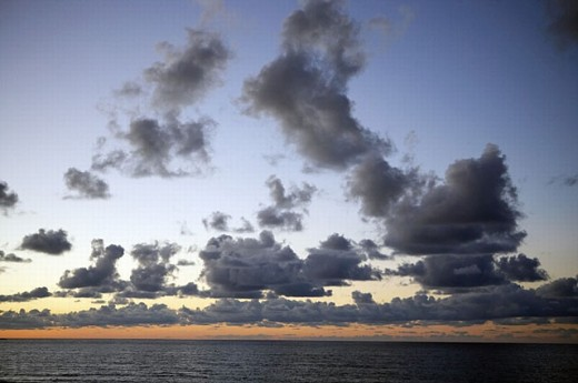 Evening clouds. Hendaye beach. Aquitaine. France. : Stock Photo