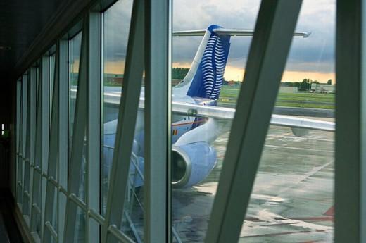 Stock Photo: 1566-255456 Airplane in Brussels airport. Belgium