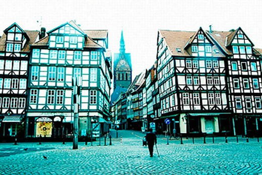 Old town and Gothic tower of Market Church (1349-1359). Hannover. Lower Saxony. Germany. : Stock Photo