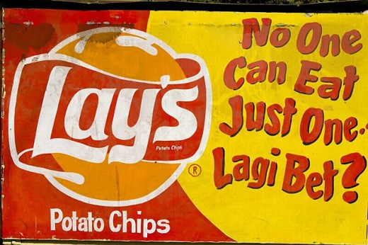 Wall advertising art: Lay´s potato chip Mural, Old Goa. Goa, India (2004) : Stock Photo