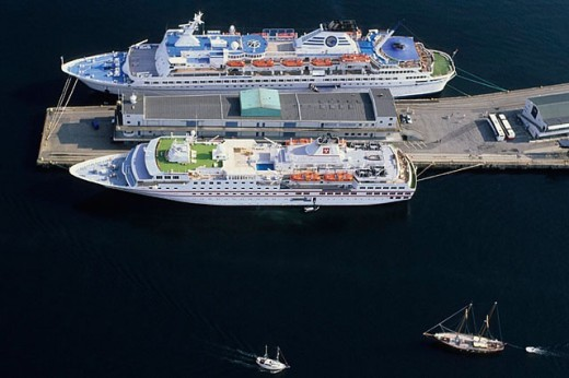 Aerial view of ships at dock, Bergen. Norway : Stock Photo