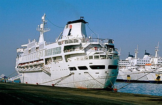 Call on Suez (Egypt). Cruise from Hurghada (Egypt) To Eilat, Suez Canal, Port-Said, Alexandria, Malta to Marseille on cruise ship m/s Sapphire : Stock Photo