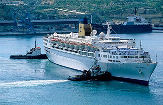 Stock Photo: 1566-256960 Calling on La Valette harbour in Malta.  Cruise from Hurghada (Egypt) To Eilat, Suez Canal, Port-Said, Alexandria, Malta to Marseille on cruise ship m/s Sapphire