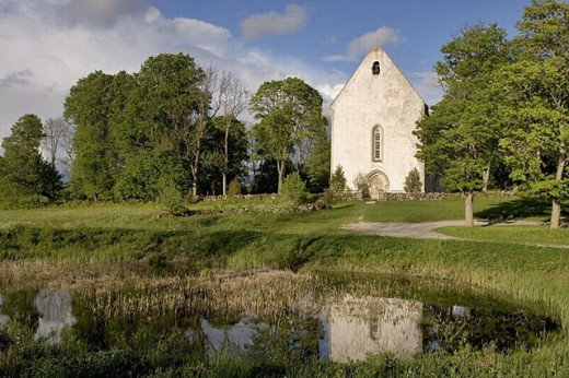 Stock Photo: 1566-257062 Karja medieval German church (13th-14th century), Saaremaa island. Estonia