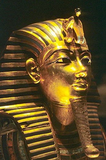 Golden mask of Tutankhamen, Egyptian Museum. Cairo, Egypt : Stock Photo