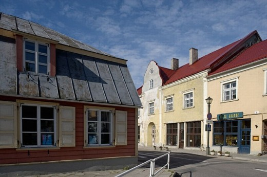 Traditional houses in old town, Haapsalu. Estonia : Stock Photo