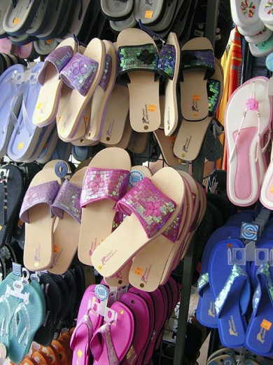 Sandals for sale. : Stock Photo