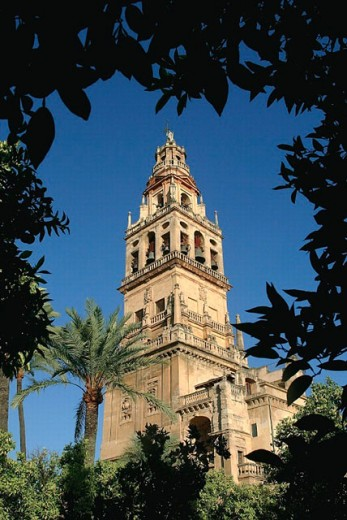 Patio de los Naranjos, courtyard and minaret tower of the Great Mosque, Córdoba. Andalusia, Spain : Stock Photo