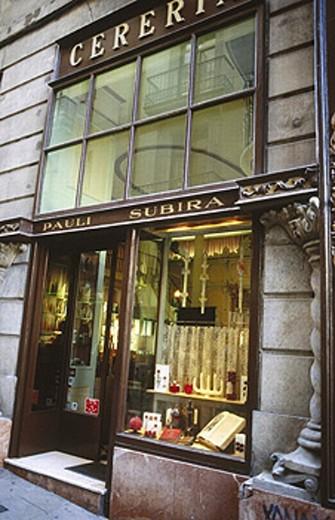 Subirà Wax-Chandler´s Shop. Baixada Llibreteria street. Barcelona. Catalunya. Spain. : Stock Photo
