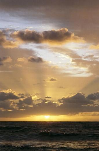 Sunrise over ocean, Oahu, Hawaii : Stock Photo