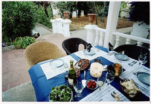 Country House courtyard. Maó, Menorca. Balearic Islands. Spain. : Stock Photo