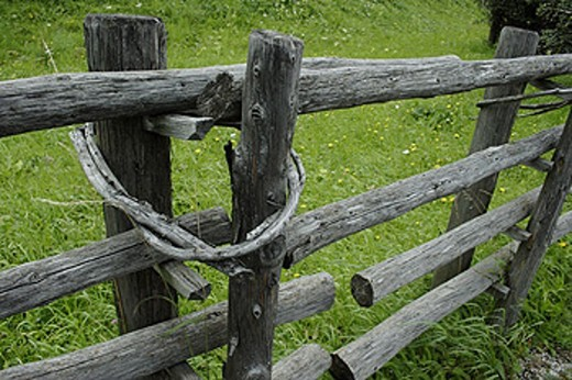 Wooden fence, Mauterndorf, Salzburg, Alps. Austria. : Stock Photo