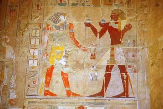 Stock Photo: 1566-259710 Pharaon offering to Horus. Hatshepsut temple, Deir el-Bahari. Luxor. Egypt.