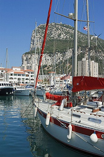 Gibraltar. Yachts in Marina Bay with the Rock in background : Stock Photo