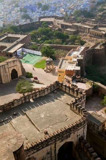 Stock Photo: 1566-261301 Meherangarh Fort- Northwest side with solitary visitor. Jodhpur. Rajasthan. India.