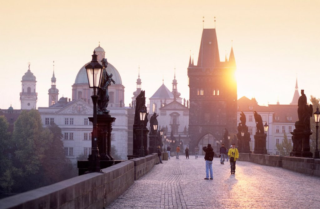 Spires of the old town, Charles Bridge, Prague, Czech Republic : Stock Photo