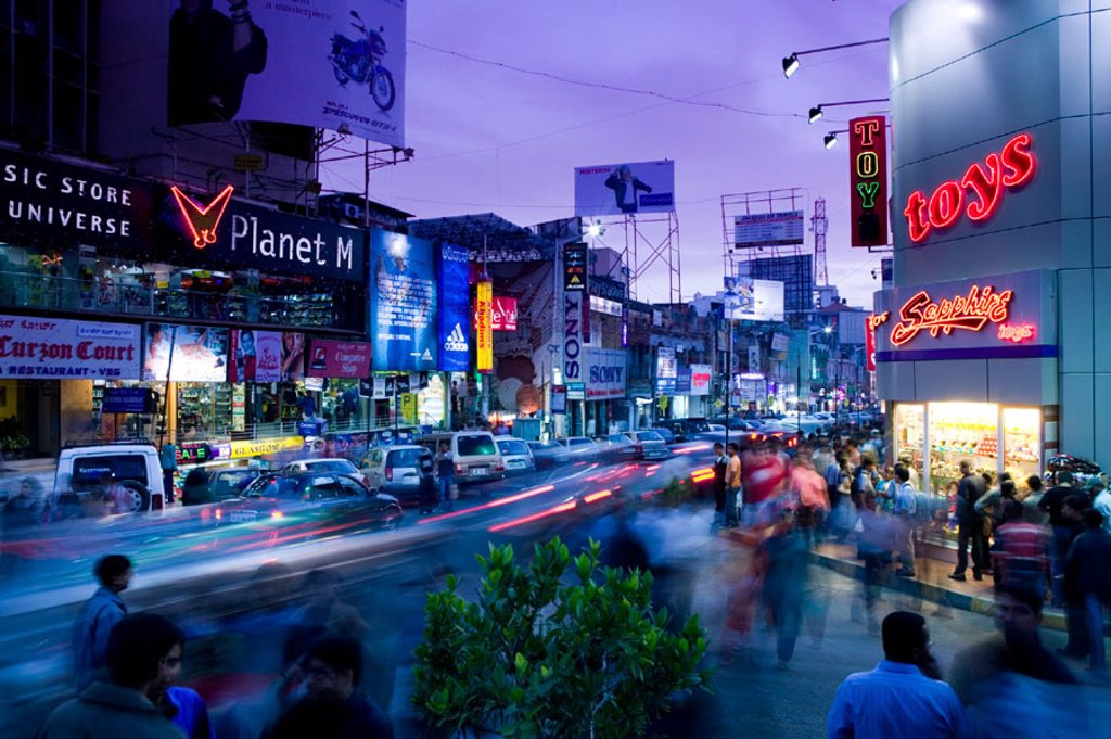 Stock Photo: 1566-262336 Brigade Road. Main Shopping Street. Evening. Bangalore. Karnataka. India.