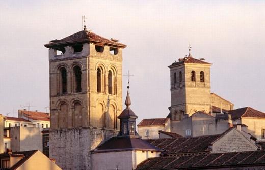 Church of San Justo and church of El Salvador towers, Segovia. Castilla-Léon, Spain : Stock Photo