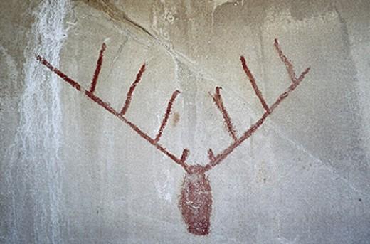 Cave paintings, Ramos Arizpe, Coahulia, Mexico : Stock Photo