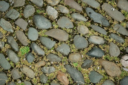 Stones neatly laid with moss in between serve as a paved promenade in the town of Chester, England. UK : Stock Photo