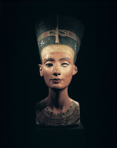 Bust of Queen Nefertiti. New Kingdom, 18th dynasty, Amarna era, around 1340 BC. Limestone and plaster, height 50 cm. Egyptian Museum. Berlin - Charlottenburg. Germany : Stock Photo